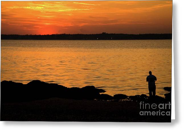 Fishing At Sunset Greeting Card by Karol Livote