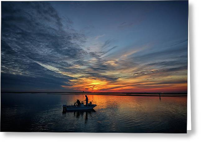 Fishing At Sunset Greeting Card by Rick Berk