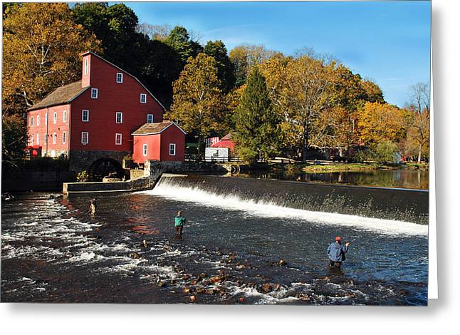 Fishing At The Old Mill Greeting Card by Lori Tambakis