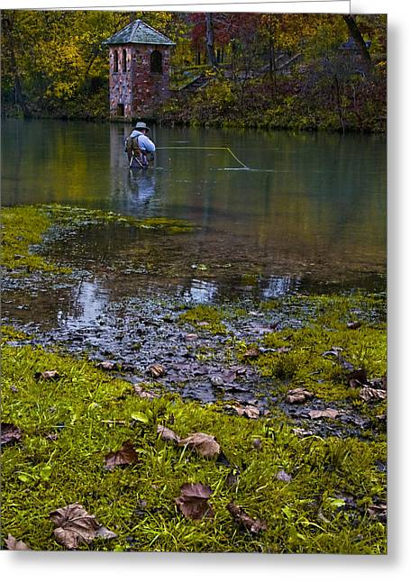 Fishing At The Spring Greeting Card by Mitch Spence
