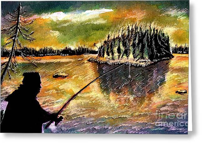 Fishing At Twilight Greeting Card by Ion Danu