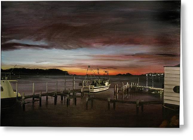 Fishing Bay At Sunrise Greeting Card by Elisabeth Dubois