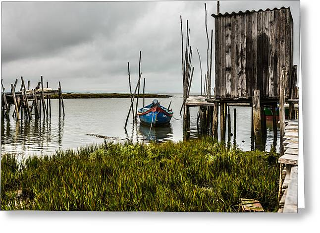 Fishing Boat And Stilt House Greeting Card by Marco Oliveira