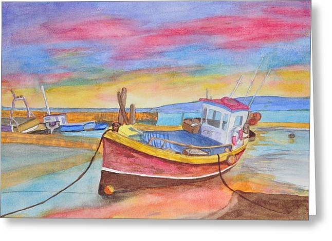 Fishing Boat At Low Tide Greeting Card by Jonathan Galente