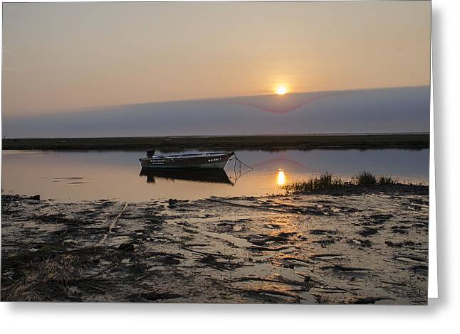 Fishing Boat At Sunrise Greeting Card by Bill Cannon