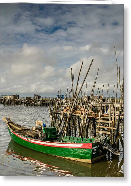Fishing Boat At The Dock II Greeting Card by Marco Oliveira