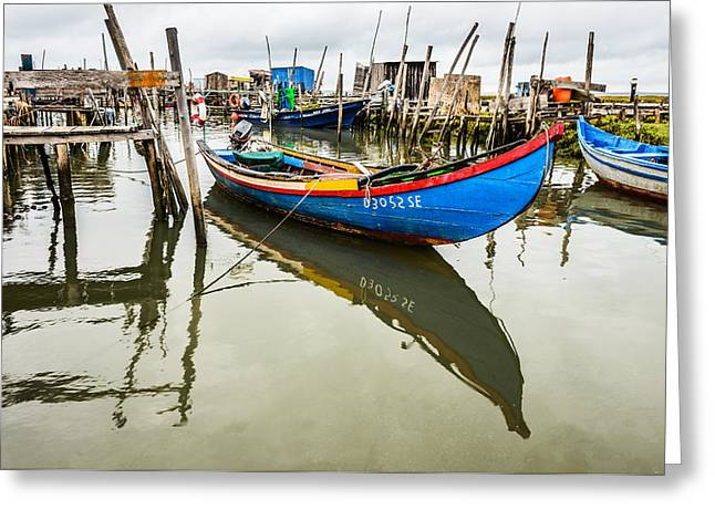 Fishing Boat At The Dock Greeting Card by Marco Oliveira