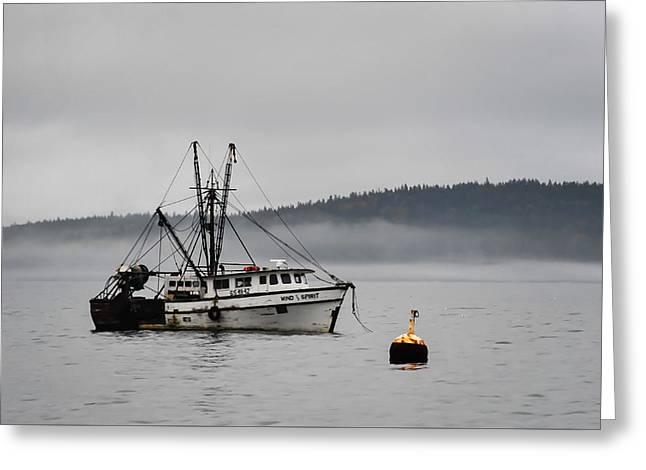 Fishing Boat Fog Bar Harbor Maine Greeting Card