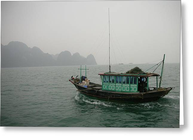 Fishing Boat In North Vietnam Greeting Card