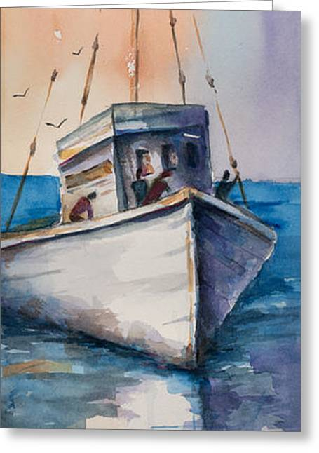 Fishing Boat Greeting Card by Mary DuCharme