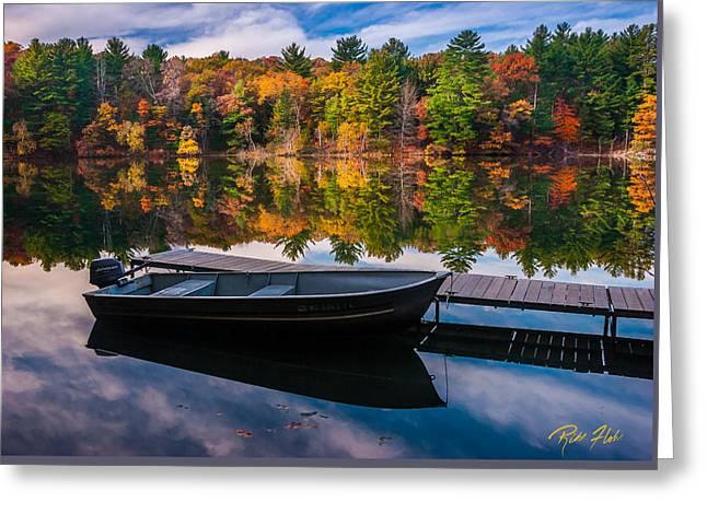 Fishing Boat On Mirror Lake Greeting Card