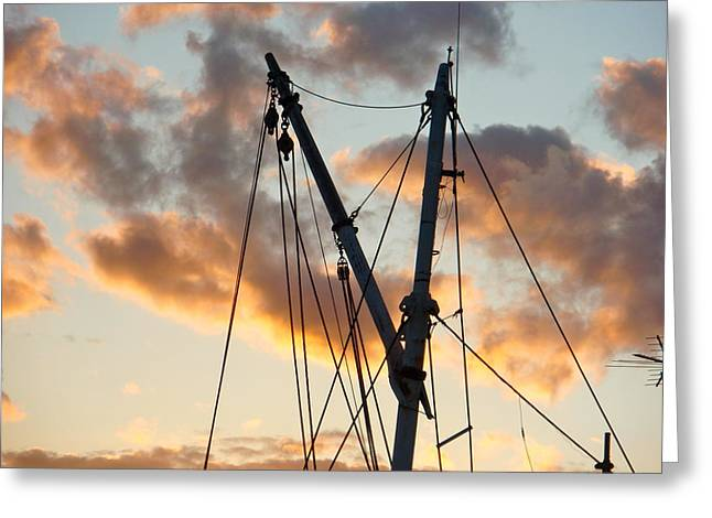 Bedford Hills Greeting Cards - Fishing Boat Rigging Greeting Card by Betty Ann Morris