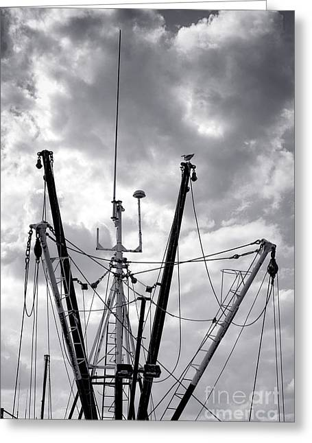 Fishing Boat Vessel Fleet Mast And Outrigger Booms Greeting Card by Olivier Le Queinec