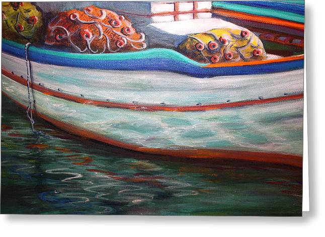 Fishing Boatgreek  Greeting Card by Yvonne Ayoub