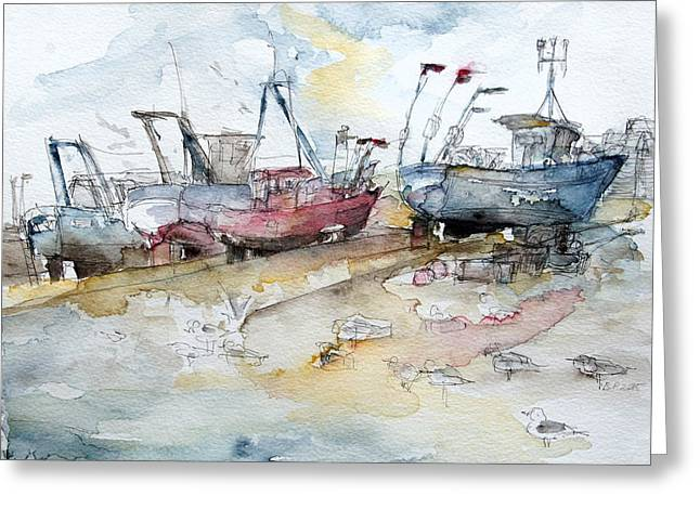 Fishing Boats At Hastings' Beach Greeting Card by Barbara Pommerenke
