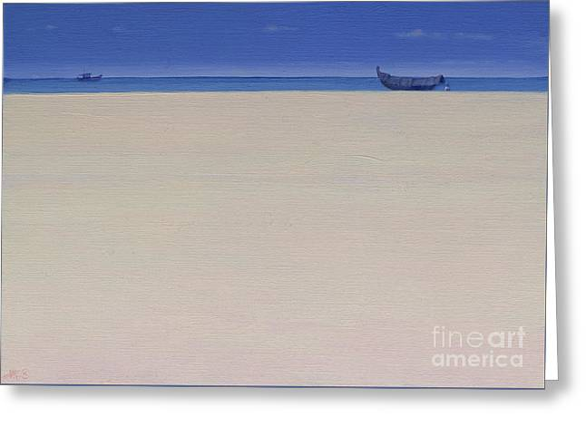 Fishing Boats At Puvar, Kerala  Greeting Card by Derek Hare