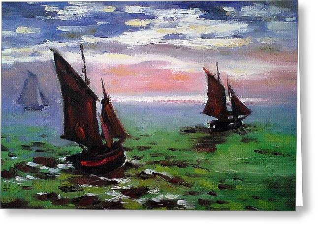 Fishing Boats At Sea Greeting Card by Peter Kupcik