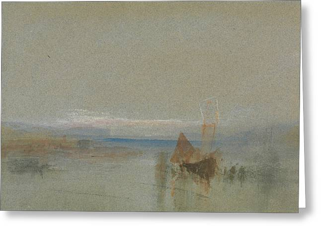 Fishing Boats Becalmed Off Le Havre  Greeting Card by Joseph Mallord William Turner