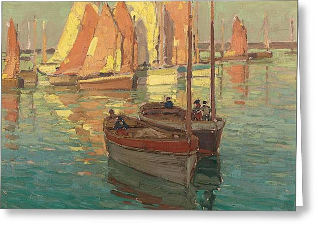 Fishing Boats In A Harbor Greeting Card