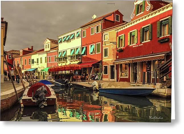 Fishing Boats In Colorful Burano Greeting Card