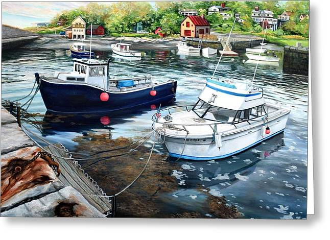 Fishing Boats In Lanes Cove Gloucester Ma Greeting Card