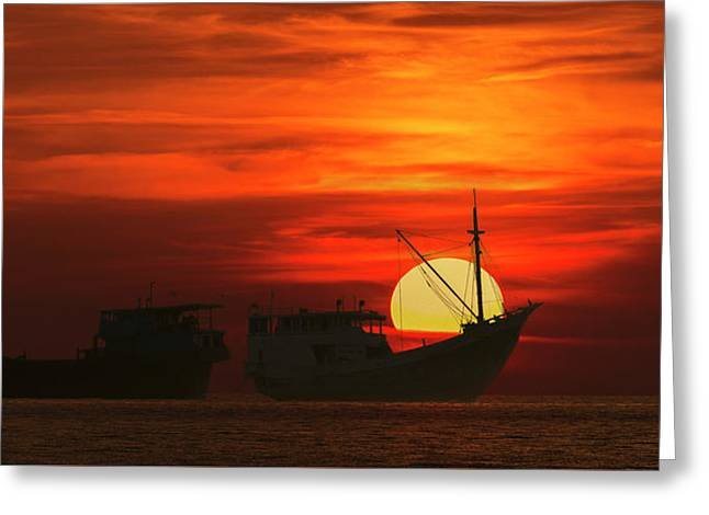 Fishing Boats In Sea Greeting Card