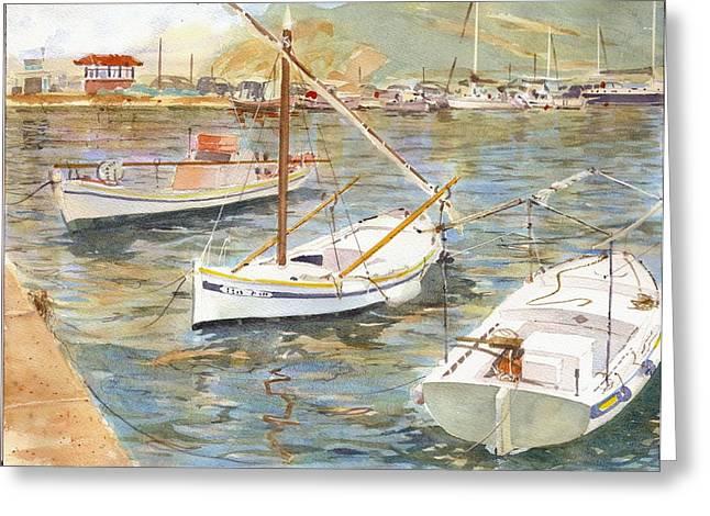 Fishing Boats In Skopelos Greeting Card