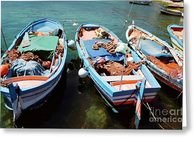 Fishing Boats In The Harbor Of Mondello, Sicily Greeting Card by Dani Prints and Images