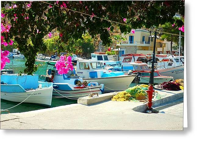Fishing Boats Of Vathy Greeting Card by Therese Alcorn