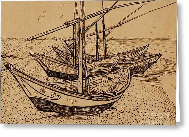 Fishing Boats On The Beach At Saintes-maries De La Mer, 1888 Greeting Card by Vincent Van Gogh