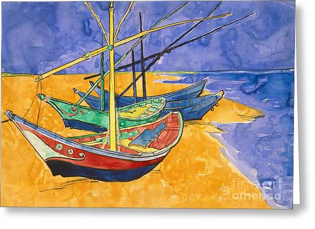 Fishing Boats On The Beach At Saintes Maries De La Mer Greeting Card by Vincent Van Gogh