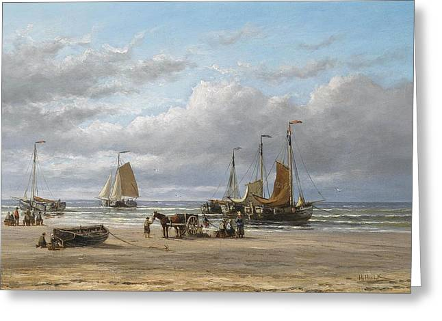 Fishing Boats On The Beach At Scheveningen Greeting Card by MotionAge Designs