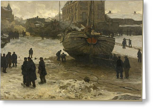 Fishing Boats On The Beach At Scheveningen Greeting Card by Willem Bastiaan Tholen