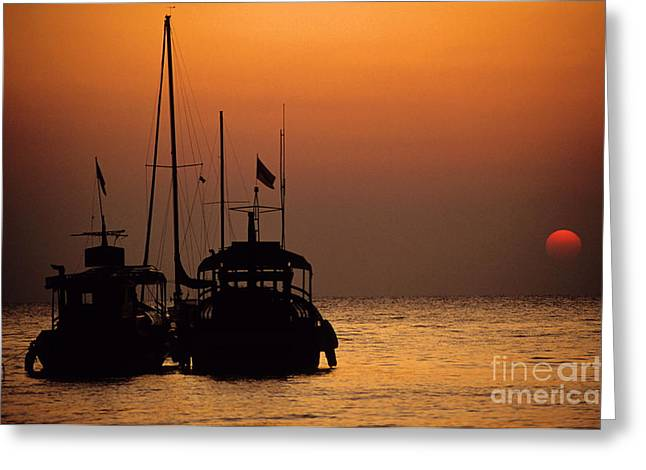 Fishing Boats Together At Sunset Greeting Card by Sami Sarkis