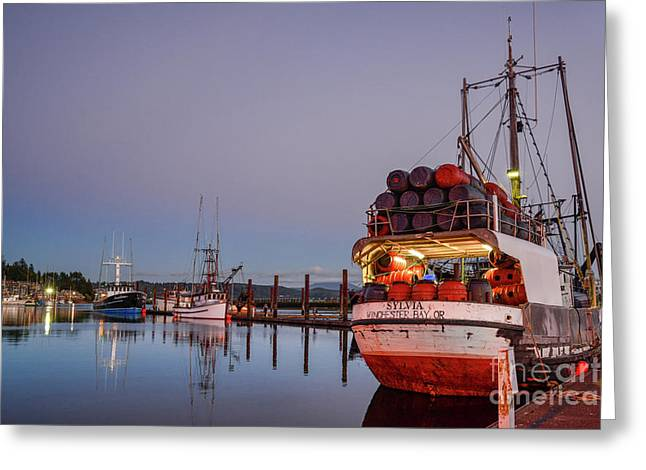 Fishing Boats Waking Up For The Day Greeting Card