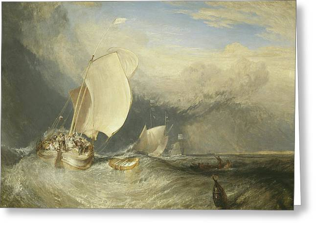 Fishing Boats With Hucksters Bargaining For Fish Greeting Card by Joseph Mallord William Turner