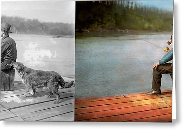 Fishing - Booze Hound 1922 - Side By Side Greeting Card by Mike Savad