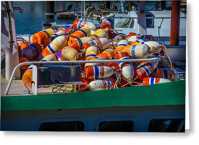 Fishing Bouys On Boat Deck Greeting Card by Garry Gay