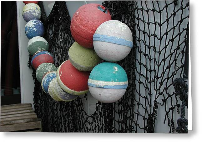 Greeting Card featuring the photograph Fishing Buoys by Nancy Taylor