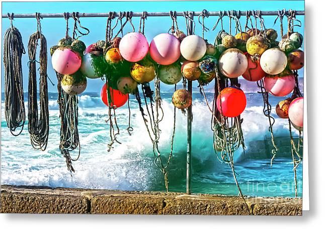 Fishing Buoys Greeting Card by Terri Waters