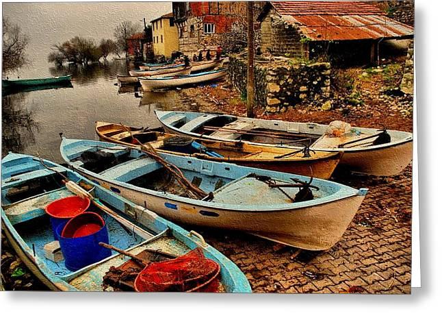 Fishing Canoes Lying Idle L B Greeting Card by Gert J Rheeders
