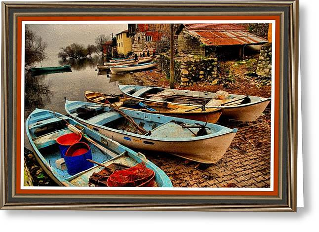 Fishing Canoes Lying Idle L B With Decorative Ornate Printed Frame. Greeting Card by Gert J Rheeders