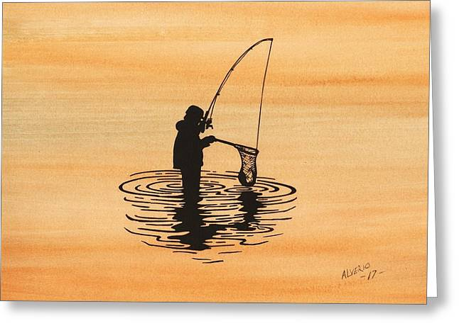 Fishing Greeting Card by Edwin Alverio