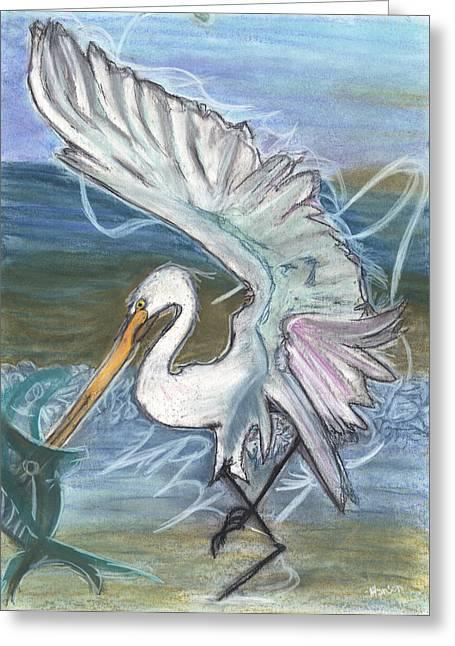 Fishing Egret Greeting Card by Stu Hanson
