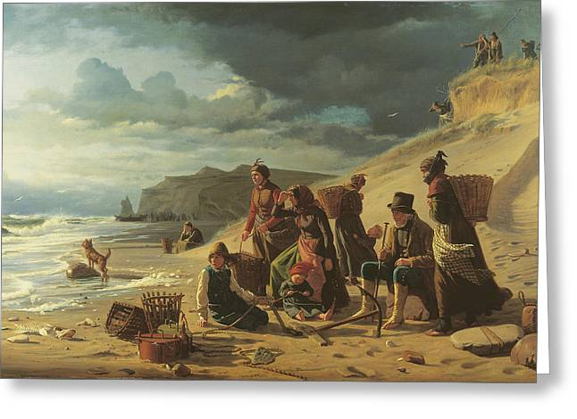 Fishing Families Waiting For Their Men To Return From An Incipient Storm. From Jutland West Coast Greeting Card