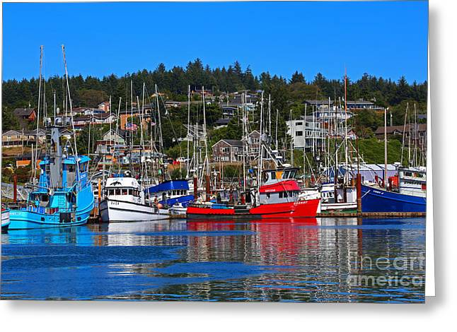 Fishing Fleet At Newport Harbor Greeting Card by Marty Fancy