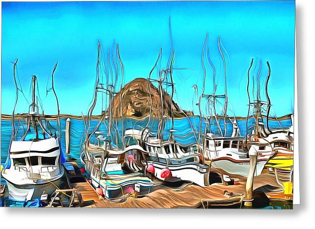 Fishing Fleet In Front Of Morro Rock Surreal Greeting Card by Barbara Snyder