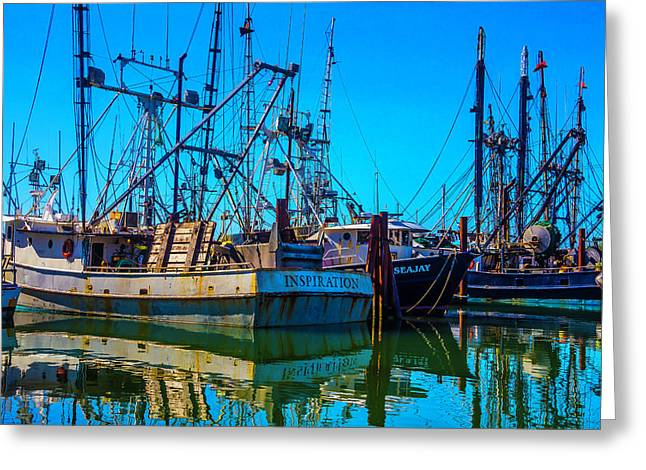 Fishing Fleet In Harbor Greeting Card