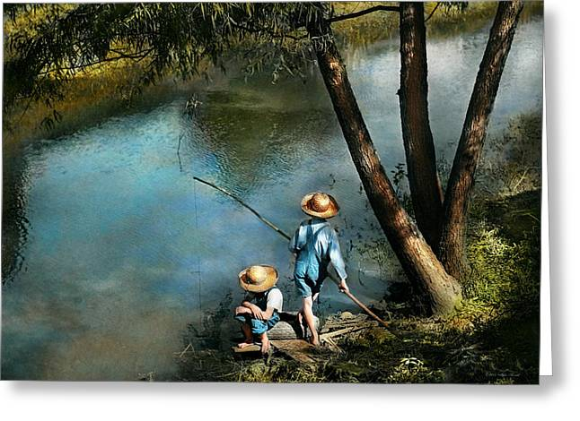 Fishing - Gone Fishin' - 1940 Greeting Card by Mike Savad