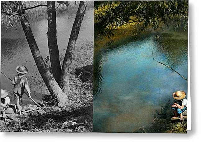 Fishing - Gone Fishin' - 1940 - Side By Side Greeting Card